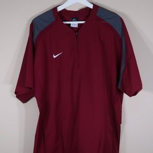 Nike Solid Burgundy Short-Sleeve Windbreaker Shirt